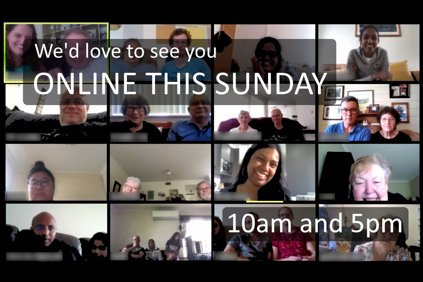We'd love to see you Online this Sunday. 10am or 6pm.